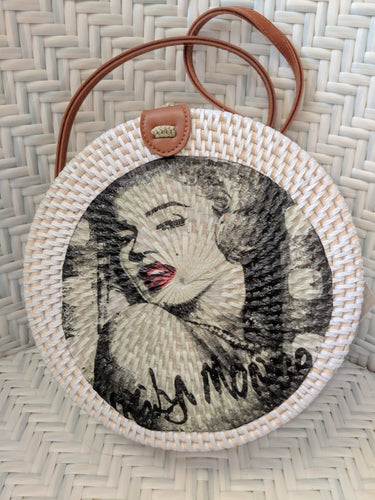 Handmade Rattan Bag with Marilyn Munroe Decoupage FREE POSTAGE