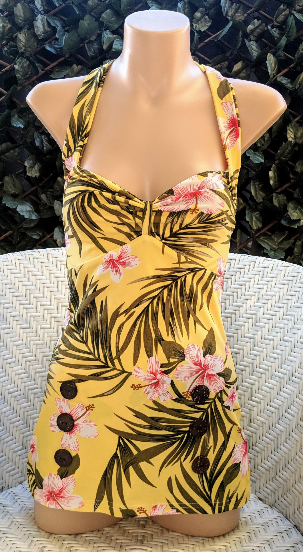 Yellow Hawaiian Style Pinup One Piece Swimsuit