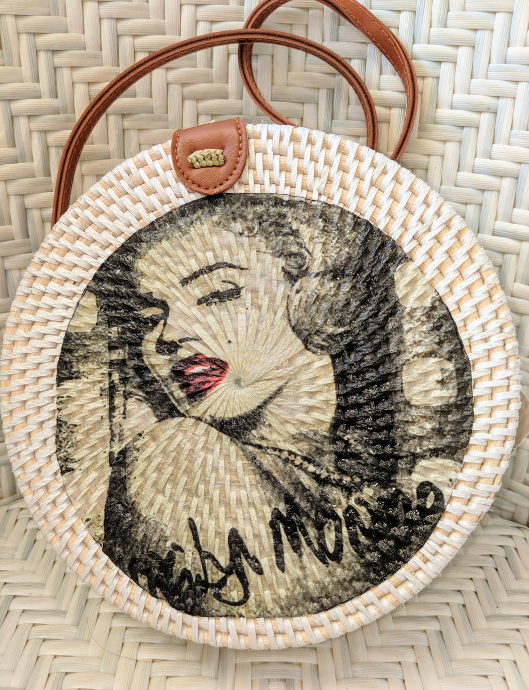 Handmade Rattan Bag with Marilyn Munroe  Decoupage - Curvique Vintage
