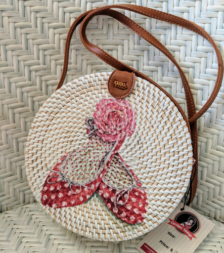 Handmade Rattan Bag with Shoe Decoupage FREE POSTAGE