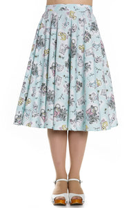 Blue Cotton 50s Bunny Skirt in Mint