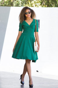 Unique Vintage 50s Emerald Green Delores 50s Swing Dress - Curvique Vintage