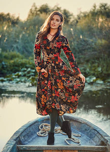 Boho Style Long Sleeve Floral Motif Dress with Tie to the back - Curvique Vintage