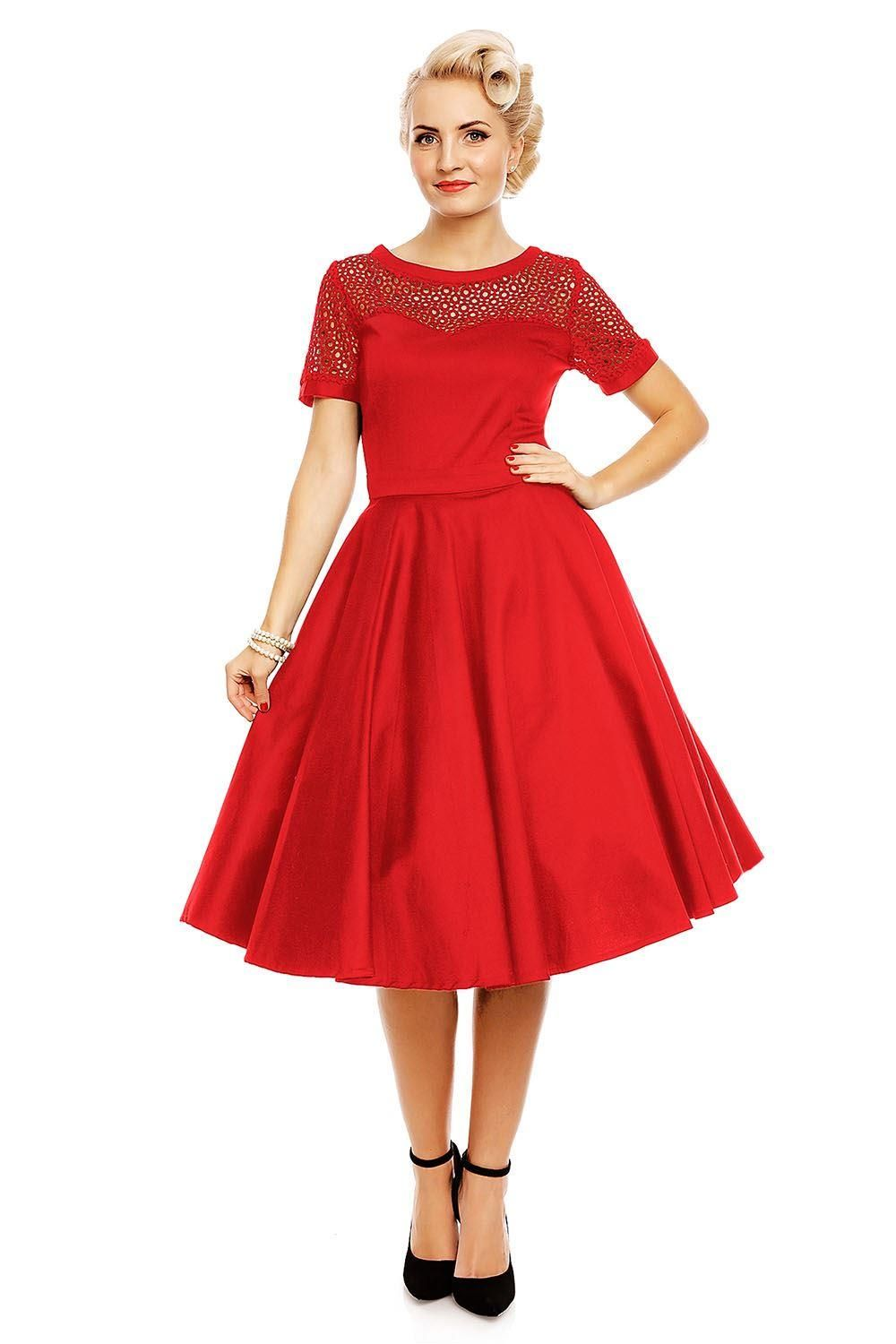 Red 50s Inspired Lace Embroiderd Sleeve Dress - Curvique Vintage
