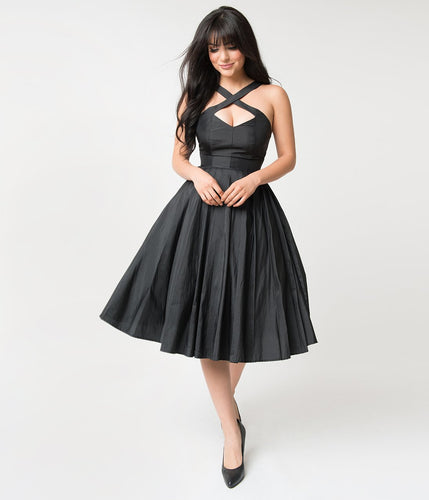 Joy Black Taffeta Cross Halter Lined 50s Inspired Pinup Party Dress - Curvique Vintage