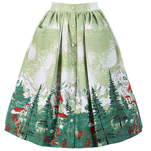 Adalene' Green Alpine Swing Skirt - Curvique Vintage