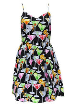 Martini Glass Print Retro Inspired Dress with Pockets - Curvique Vintage