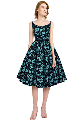 50s Vintage/Retro Style Black and Blue Floral Cotton Dress - Curvique Vintage