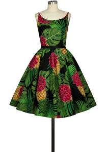 Retro Inspired Green Leaf 50s  Print Dress with ribbon belt - Curvique Vintage