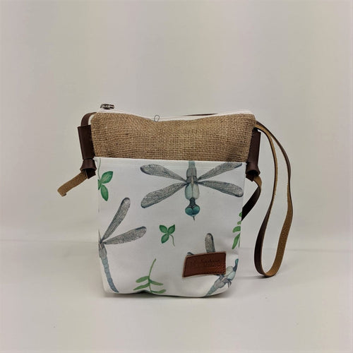 Canvas Shoulder Tote Bag with Dragonfly Print and Faux Leather Strap - Curvique Vintage