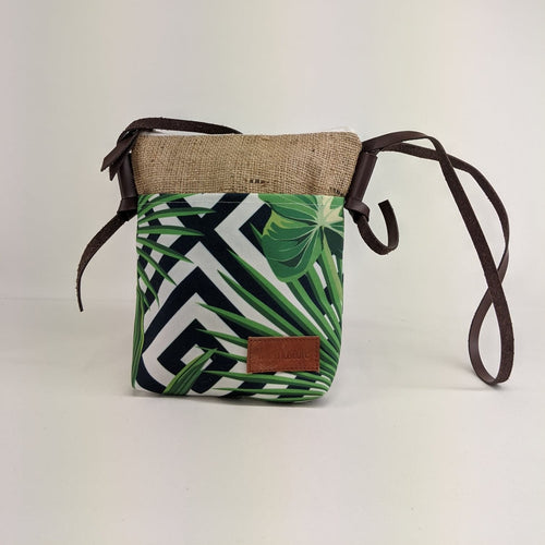 Canvas Shoulder Tote Bag with Green Tropical Leaf  Print and Faux Leather Strap - Curvique Vintage