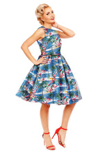 Annie Flamingo Palm Tree Island Retro Swing Dress in Blue - Curvique Vintage