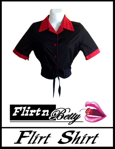 Rockabilly Black and Red Front Tie Top - Curvique Vintage