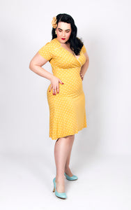 Yellow Short Sleeve Cross Over Front Polka Dot Vintage Style Dress - Curvique Vintage