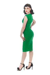 Green 40s Style V Neck Wiggle Dress - Curvique Vintage