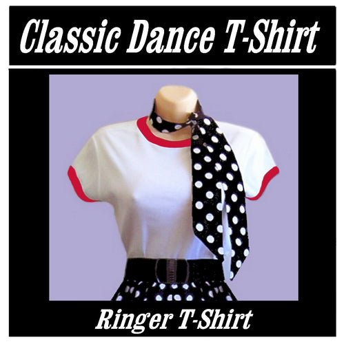 Classic Ringer T Rock n Roll T Shirt with Red Trim - Curvique Vintage