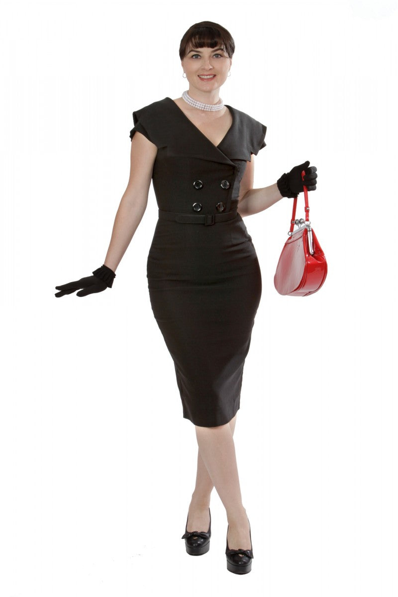 Tatyana Black Secretary Short Sleeve Pencil Dress - Curvique Vintage