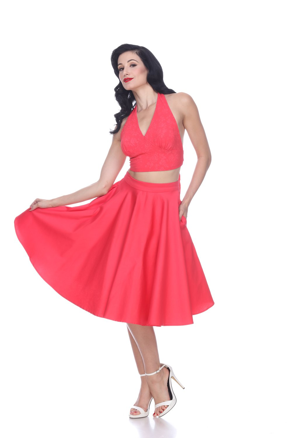 Bettie Page Coral Full Circle Swing Skirt - Curvique Vintage
