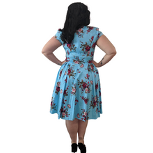 Light Blue Multicoloured Floral Print 50s Style Dress - Curvique Vintage