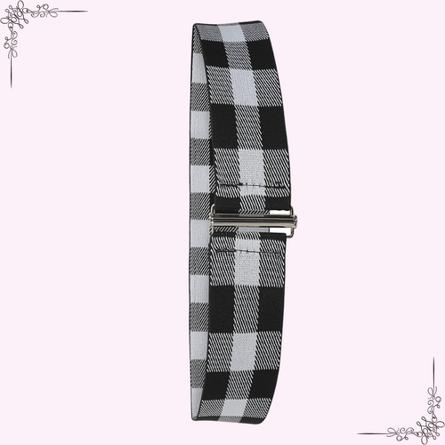 Collectif Billie Lurex Black and White Checked Belt - Curvique Vintage
