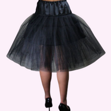 Chic Star Black Mesh and Satin Petticoat with Adjustable Tie - Curvique Vintage