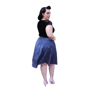50s Vintage Style Blue High Waisted Polka Dot Full Circle Skirt - Curvique Vintage