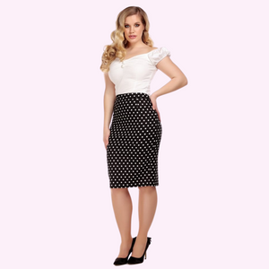Collecticf Mainlaine Polly Polka Dot Black and White Pencil Skirt - Curvique Vintage