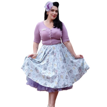 Blue Cotton 50s Bunny Skirt in Mint - Curvique Vintage