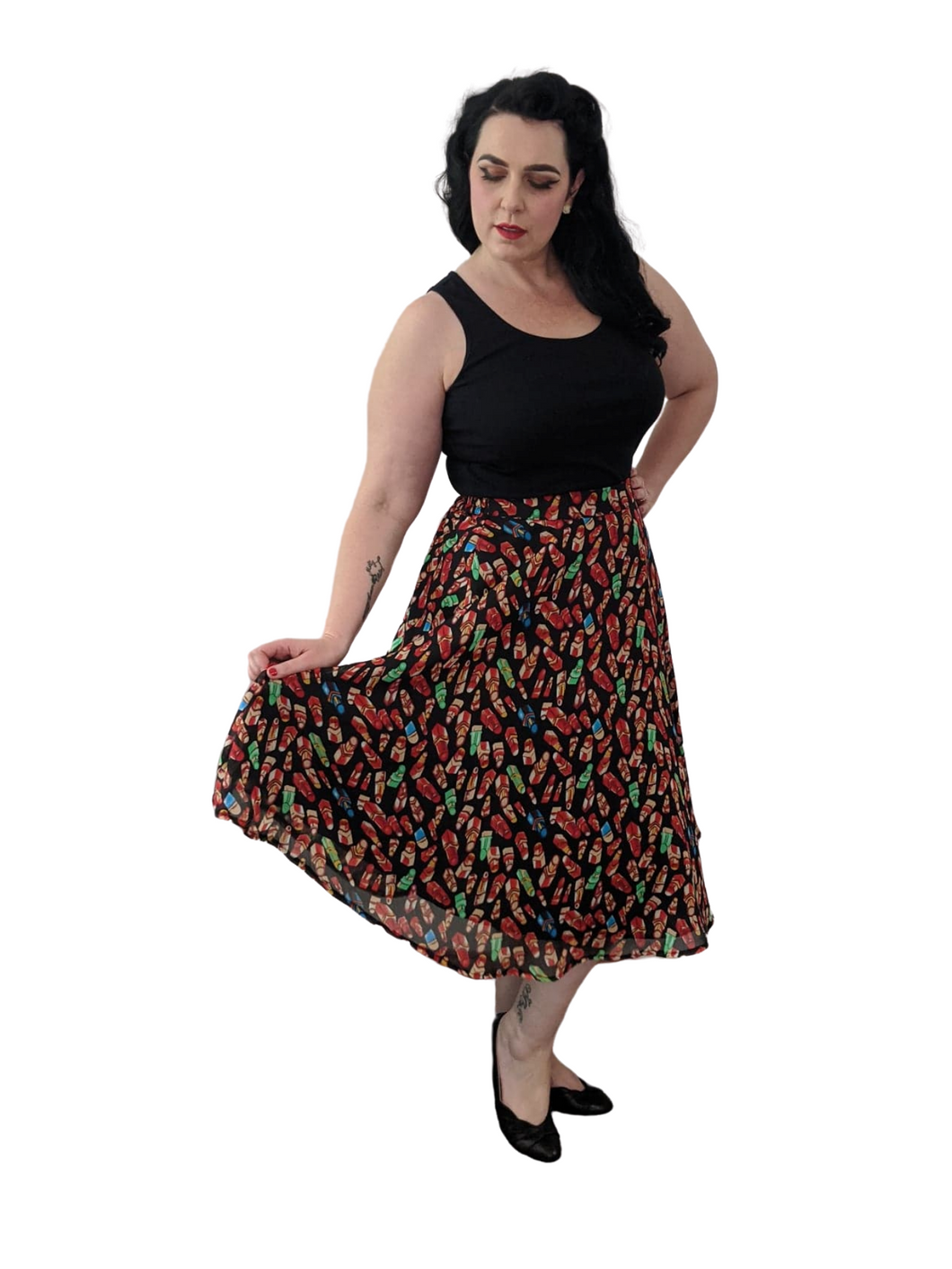 Black/Red Multicoloured Lipstick Lined 50s Style Print Skirt - Curvique Vintage