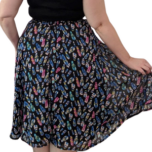 Black/Blue Multicoloured Lipstick Lined 50s Style Print Skirt - Curvique Vintage