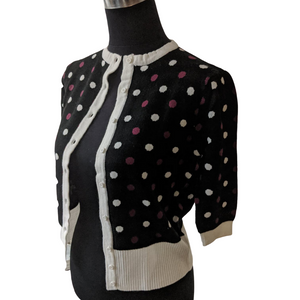 Black Warm Purple and Cream Polka Dot Bolero - Curvique Vintage