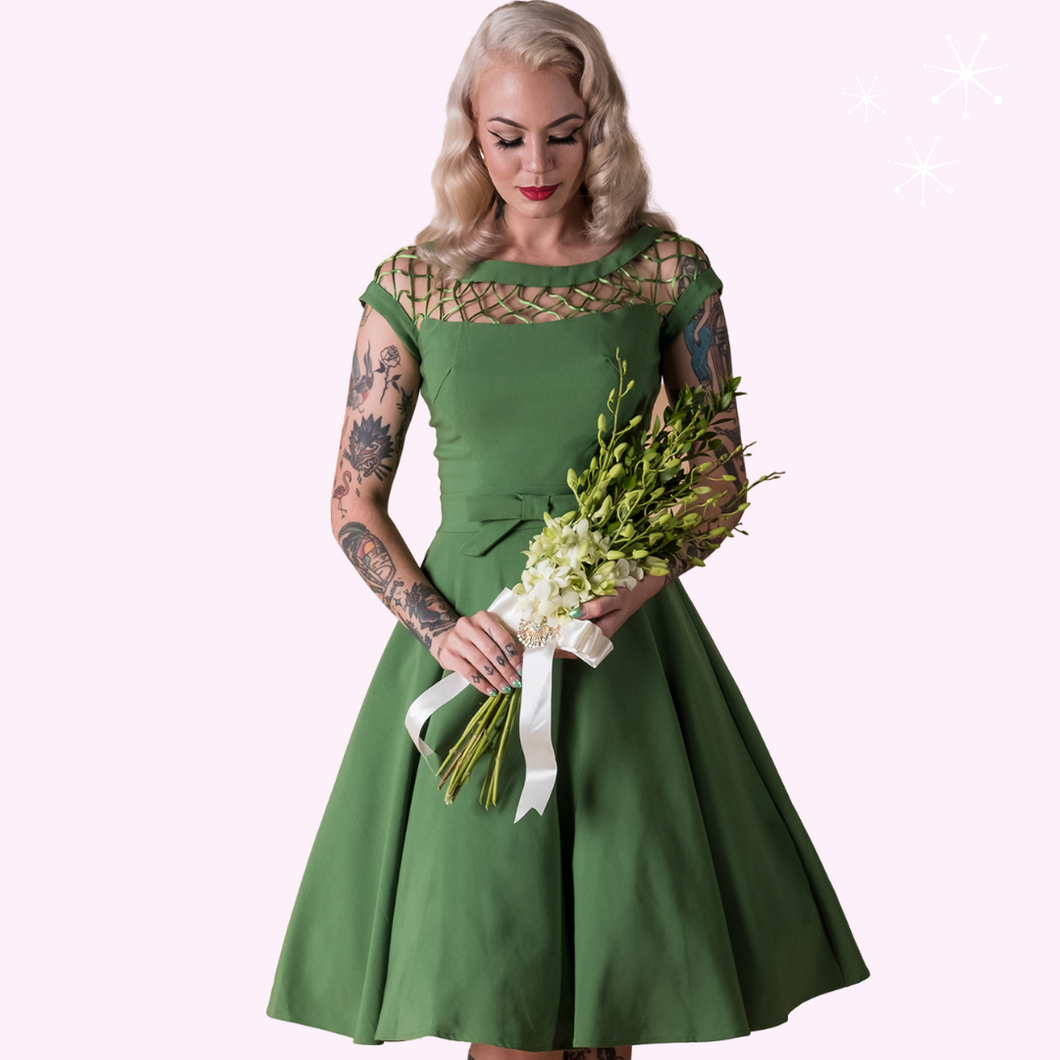 Alika Full Circle Green Lattice Neckline Vintage Inspired Dress - Curvique Vintage