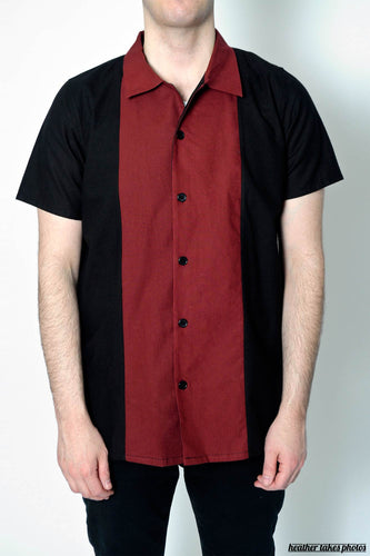 Airborne Centre Stripe Wine Coloured Cotton Bowling Shirt