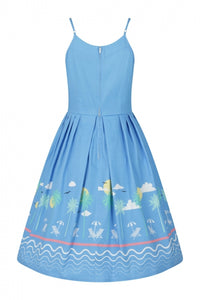 Light Blue 50s Vintage Style Strappy Summer Holiday Dress - Curvique Vintage