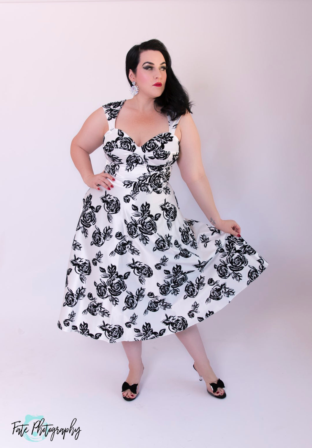 Bettie Page White with Black Floral Print Roman Holiday Dress - Curvique Vintage
