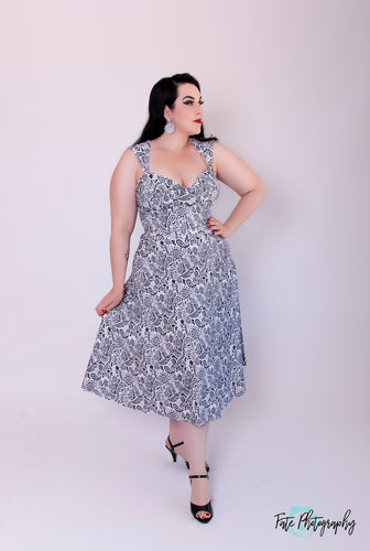 Bettie Page White with Black Paisley Print Roman Holiday Dress - Curvique Vintage