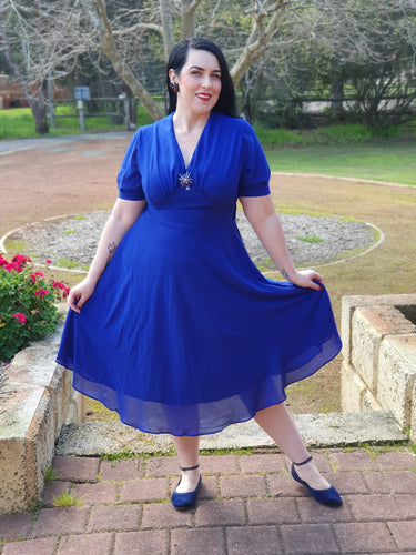 Elise 1940s Retro Balloon Sleeves Chiffon Swing Dress in Navy - Curvique Vintage