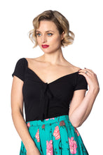 Black Vintage Inspired Deep Neckline Top with Bow Detail - Curvique Vintage