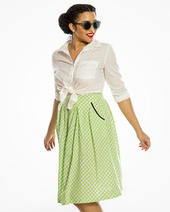 Green Gingham Cotton Box Pleated 50s Style Skirt - Curvique Vintage