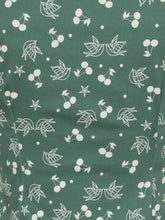 Collectif Mainlaine Dolores 50s Style Green Top with a Cherry and Swallow Print - Curvique Vintage