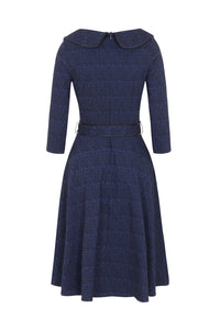 Lilly Blue Off the Centre Collar 50s Style Dress - Curvique Vintage