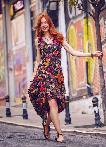 Black Floral Sleeveless Asymmetical Patara Dress