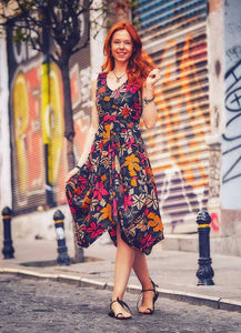 Black Floral Sleeveless Asymmetical Patara Dress - Curvique Vintage