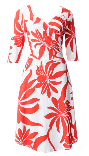 Sweetheart Red/White  Feugo Print Flattering Wrap Dress - Curvique Vintage