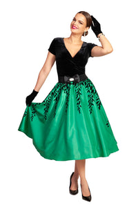 Green and Black Leaf Flocked Lined 1950s Skirt