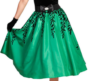 Green and Black Leaf Flocked Lined 1950s Skirt - Curvique Vintage