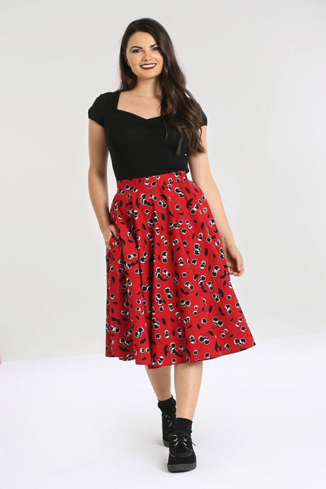 Red with Black Cherries 50s style Vintage Inspired Cotton Skirt - Curvique Vintage