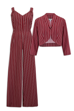 Maroon Dotty Stripe Print 50s Style Jumpsuit with Bolero - Curvique Vintage