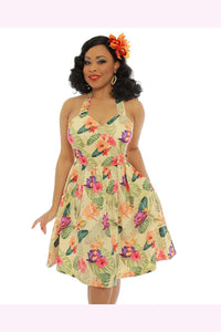 Classic 50s Style Halter Swing Lorelei  Dress - Last One - Curvique Vintage