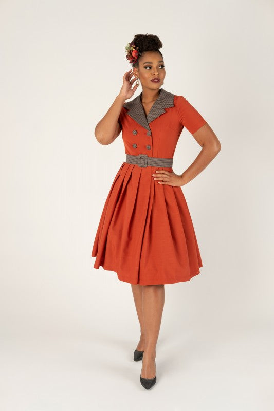 Retro Rust Cololured Double Breasted Belted Dress With Pockets - 2XL (1 ONLY) - Curvique Vintage